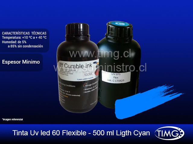 Tinta Uv led 60 flexible - 500 ml Ligth Cyan
