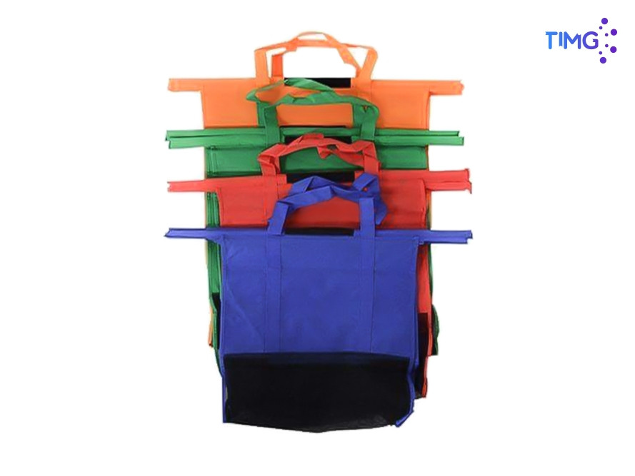 Set de bolsas TNT de colores - reutilizables - para carritos de supermercado - 4 colores y tallas diferentes