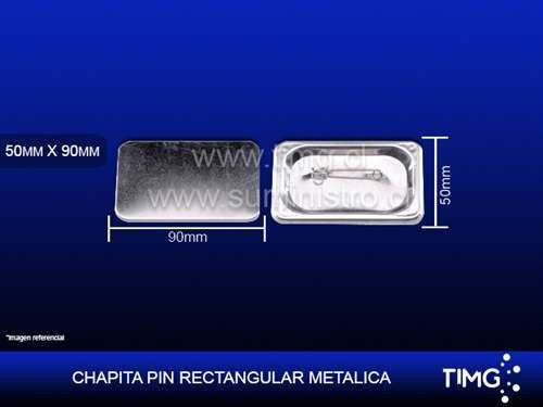 Chapita PIN metalica Rectangular 50*90mm (100 und)