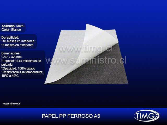 Papel PP Ferroso Blanco Wp320 A3 pig uv y latex