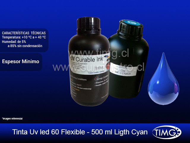 Tinta Uv led 60 flexible - 500 ml Cyan