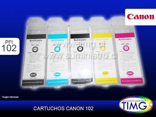 Set 6 Recarcagles Canon PFI-102 280Ml con Chip